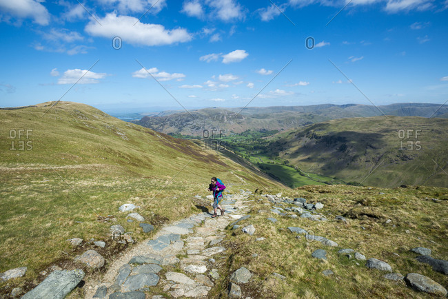 Climbing the trail towards Striding Edge and Helvellyn from Ullswater
