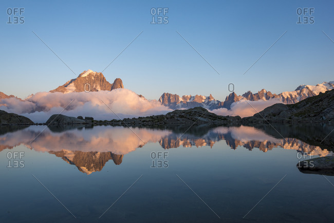 Lac Blanc on the Tour du Mont Blanc trekking route in the French Alps