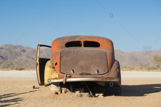 Solitare, Solitare, Khomas, Namibia - October 11, 2015: An abandoned car near the small town of Solitare in Namibia