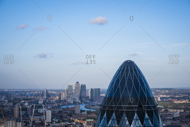 London, UK - June 10, 2015: Close up of The Guerkin also called St Marys Axe in the city of London from the top of Tower 42