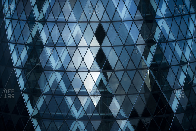 London, UK - July 21, 2015: Close up of The Guerkin also called St Marys Axe in the city of London from the top of Tower 42