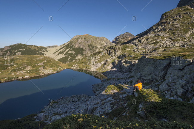 Taking a moment away from the trail above one of the Maliovitsa lakes in the Rila mountains