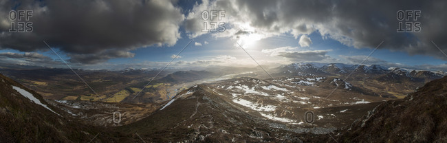 A view across the Cairngorms in Scotland from the top of Creag Dubh near Newtonmore