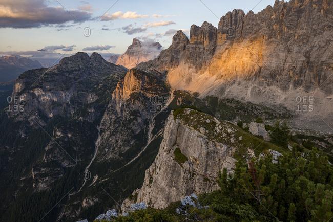 Monte Civetta in Dolomites range near Rifugio Tissi near the Alta Via 1 trail