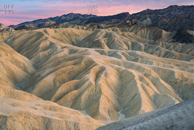Zabriskie Point in Death Valley near Natural rock formations caused by erosion