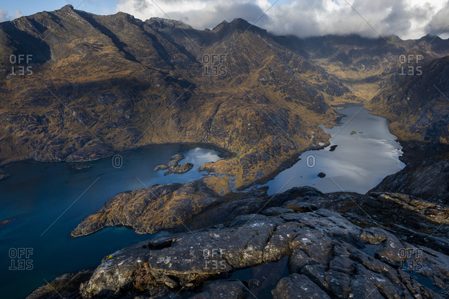 Loch Coruisk and the main Cuillin ridge seen from the top of Sgurr Na Stri on the Isle of Skye in the Scottish Highlands