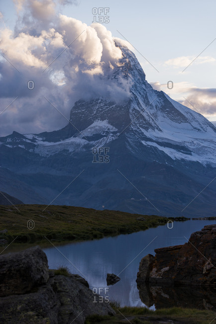 The Matterhorn from Stellisee lake in the Swiss Alps
