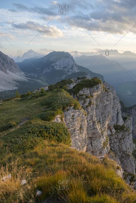 Dolomites range near Rifugio Tissi near the Alta Via 1 trail