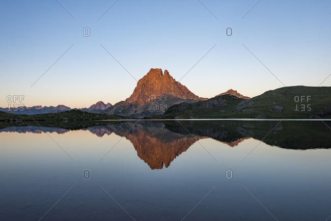 Lac Gentau and Pic Midi d'Ossau beside the GR10 trekking route in the Pyrenees