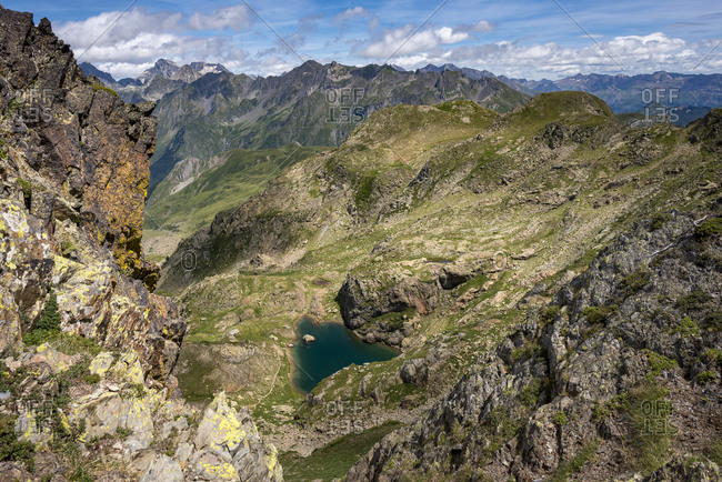 A view of the Pyrenees from Col de Peyreget on the GR10 trekking trail