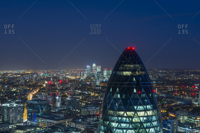 London, United Kingdom - July 21, 2015: The Gherkin, 30 Saint Mary's Axe, as seen from the rooftop of Tower 42