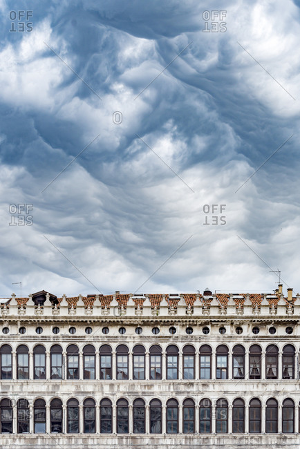 A spectacular facade of windows in St Marks Square or San Marco