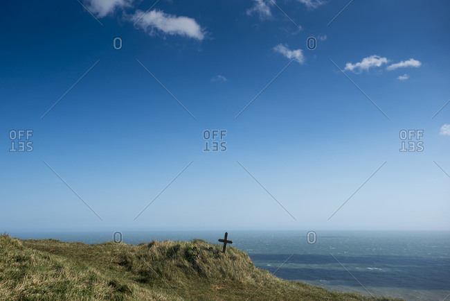 Graves at Beachy Head on the cliffs on the south coast of Britain