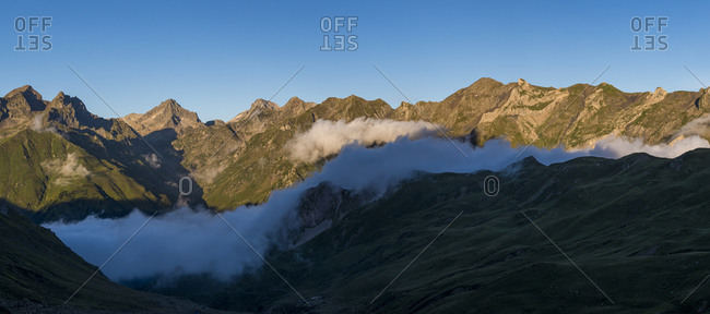 View of the Pyrenees from Refuge Pombie on the GR10 trekking trail