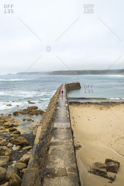 The harbor wall at Sennen in Cornwall
