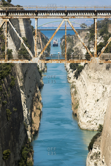 A ship in the Corinth Canal which separates the Peloponnese from the Greek mainland