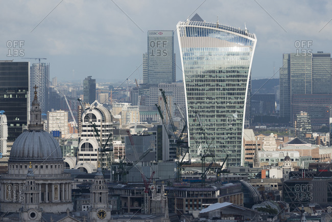 London, United Kingdom - August 26, 2015: A view of the city of London from the top of Centre Point tower. 20 Fenchurch Street (The Walkie Talkie) and St. Pauls Cathedral are clearly visible.