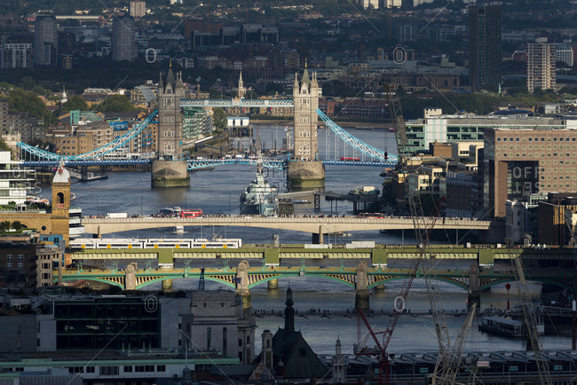 Centre Point, London, Greater London, United Kingdom - August 26, 2015: A view of  Thames river and Tower bridge from the top of Centre Point tower.