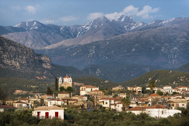 A church in a village near Kardamili in the Peloponnese in Greece with the Taygetos mountains behind