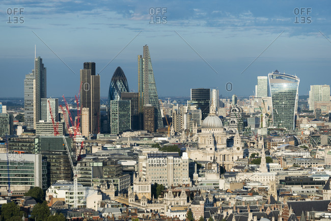 London, United Kingdom - August 21, 2015: A view of London and the Thames river from the top of Centre Point tower. The Shard, Tate Modern and Tower Bridge are visible.