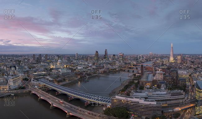 Kings Reach Building (Stop SF), London, Greater London, United Kingdom - August 28, 2015: London at twilight