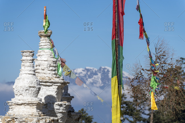 Tibetan chortens in the little village of Sing Gompa with views of the Himalayas
