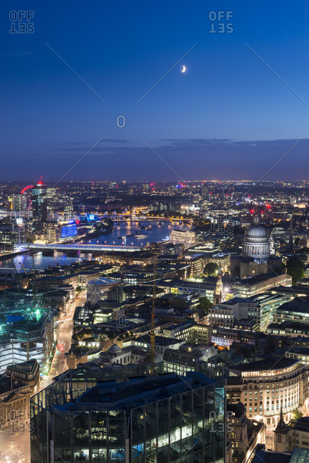 Tower 42, London, London, United Kingdom - July 21, 2015: Night time view of London taken from the top of Tower 42 in the city