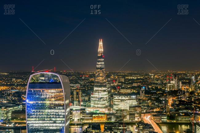 Tower 42, London, London, United Kingdom - July 21, 2015: London at night