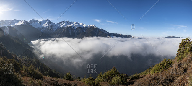 A cloud inversion in the Himalayas in the Gosainkund region