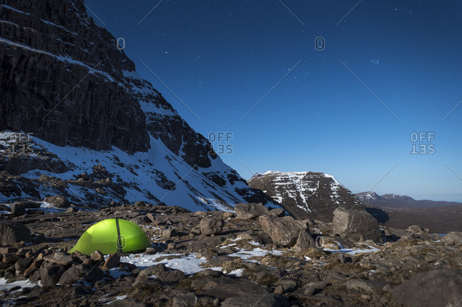 Camped in the Scottish Highlands in Torridon along The Cape Wrath Trail near Loch Coire Mhic Fhearchair