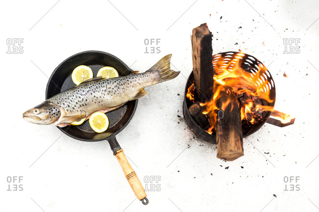 Fish in a frying pan in the snow beside fire