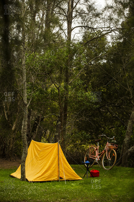 Yellow tent beside retro pink cruiser bike in the grass