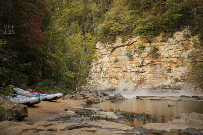 Boats on the shore at Gauley River National Recreation Area, Fayetteville, West Virginia