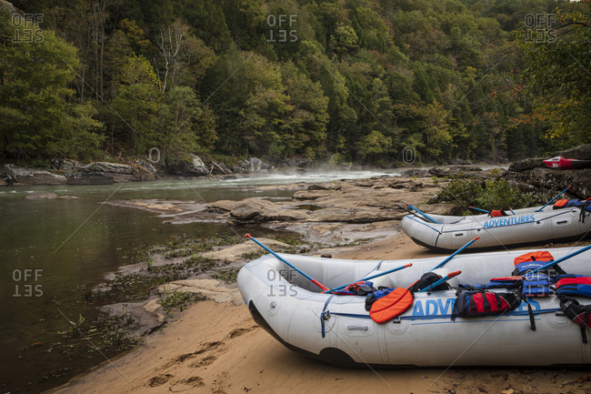 Inflatable rafts on the shore at Gauley River National Recreation Area, Fayetteville, West Virginia