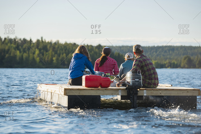 People on motor raft - Offset Collection