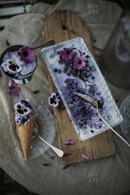 Blueberry ice-cream in cone - Offset Collection