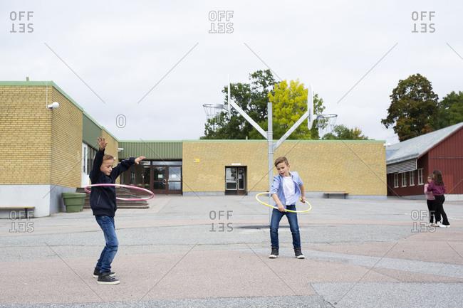 Children playing on school yard