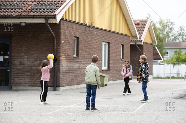 Children playing at school yard
