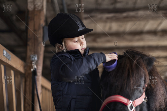 Girl brushing horse in stable