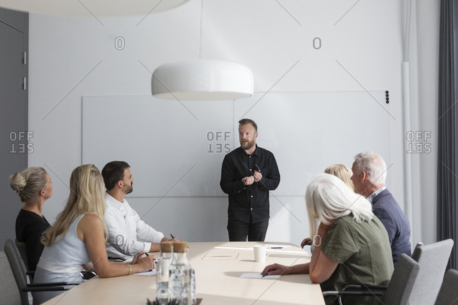 Man having presentation at business meeting