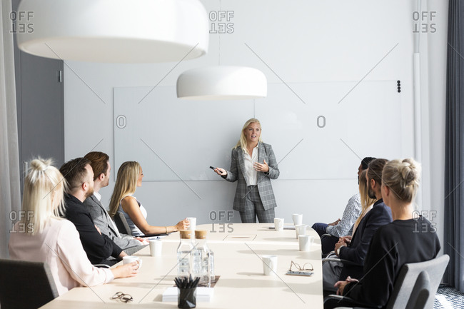 Woman having presentation at business meeting