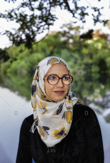 Portrait of smiling woman wearing hijab