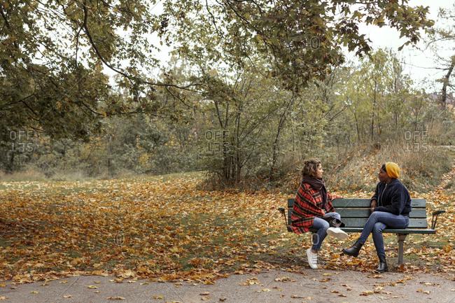 Female friends talking on bench in park
