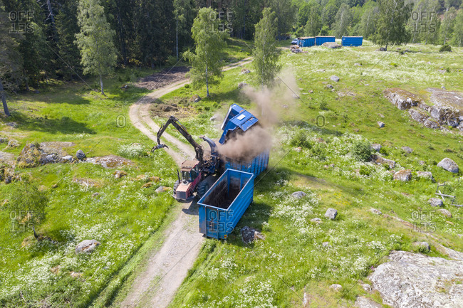 High angle view of wood chopper at work