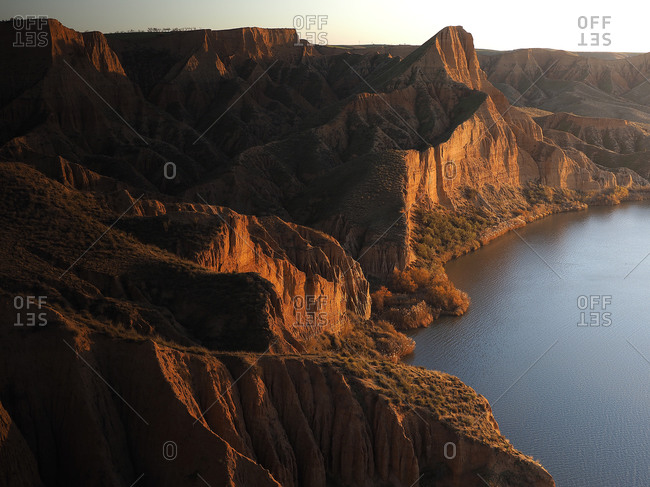 Eroded clay formations of Burujon Canyon at dusk- Spain