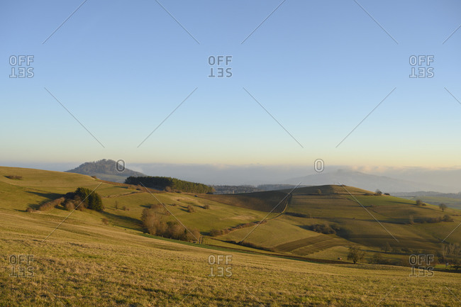 Clear sky over volcanic landscape of Hegau at dusk- Baden-Wurttemberg- Germany