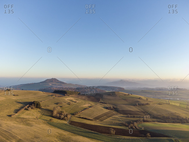 Clear sky over volcanic landscape of Hegau at dawn- Germany