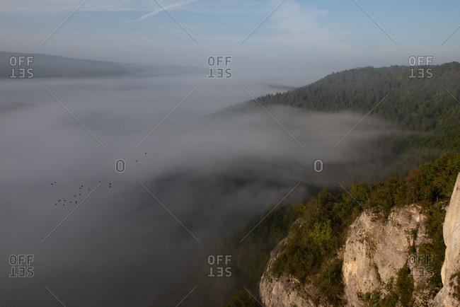 Landscape against sky in Danube Valley on foggy weather- Swabian Alb- Germany