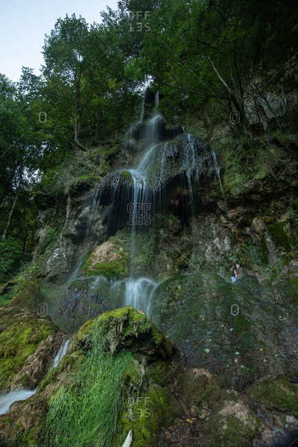 Scenic view of waterfall in Swabian Alb mountain- Swabian Alb- Germany