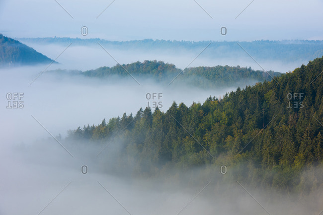 Scenic view of mountain and cloudscape at Danube Valley- Beuron- Swabian Alb- Germany